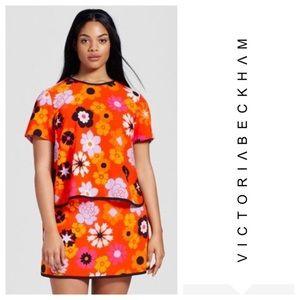 Victoria Beckham retro orange floral shirt top